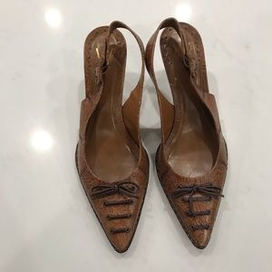 Vince  Camuto embossed brown leather sling back